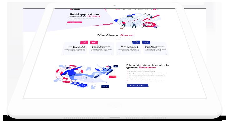 página web adaptada a tableta y celular en perspectiva